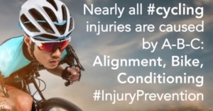 Nearly all cycling injuries are caused by alignment, bike and conditioning
