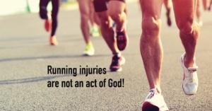 Repetitive motion of feet striking road can be a cause of running injuries