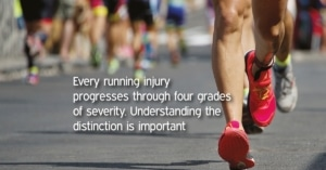 Photograph of runners' strides leading to running injury.